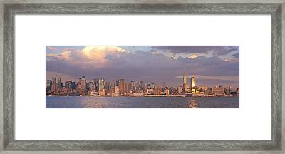 New York City Hudson River Ny Framed Print by Panoramic Images