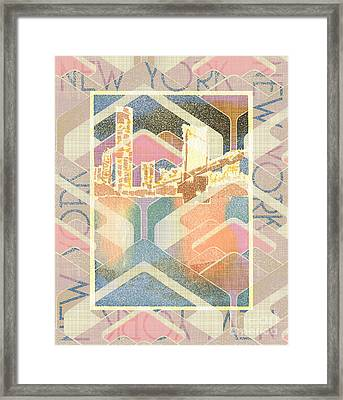 New York City In Pastel Tones - Manhattan Bridge Framed Print by Beverly Claire Kaiya