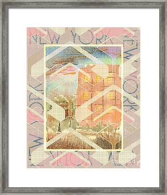 New York City In Pastel Tones - Red Brick Building Framed Print by Beverly Claire Kaiya