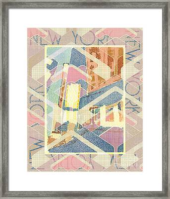 New York City In Pastel Tones - Times Square Framed Print by Beverly Claire Kaiya