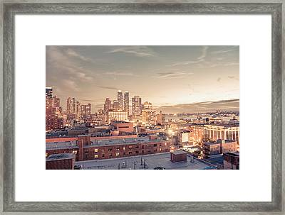 New York City - Lights And Rooftops At Dusk Framed Print by Vivienne Gucwa