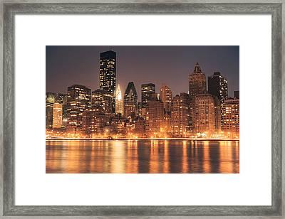 New York City Lights - Skyline At Night Framed Print by Vivienne Gucwa