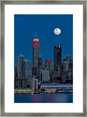 New York City Moonrise  Framed Print by Susan Candelario