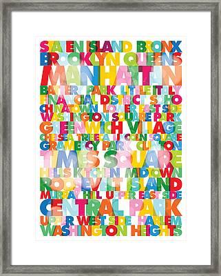 New York City Names Framed Print by Gary Grayson