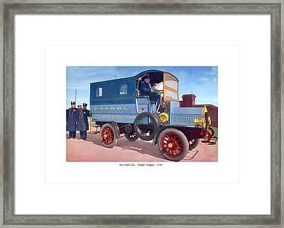 New York City - New York Police Department Patrol Paddy Wagon - 1910 Framed Print by John Madison