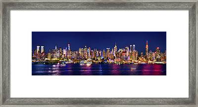 New York City Nyc Midtown Manhattan At Night Framed Print by Jon Holiday