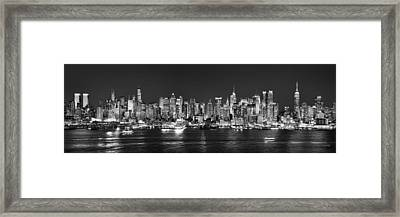 New York City Nyc Skyline Midtown Manhattan At Night Black And White Framed Print by Jon Holiday