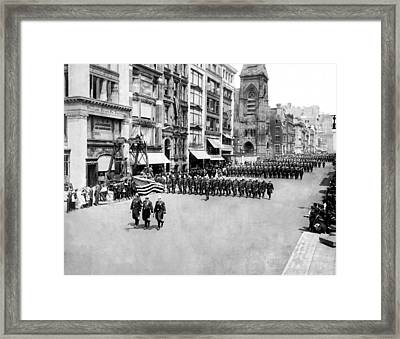 New York City Police In Parade Framed Print by Underwood Archives