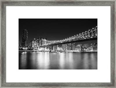 New York City - Queensboro Bridge At Night Framed Print by Vivienne Gucwa