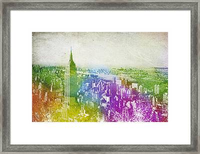 New York City Skyline Framed Print by Aged Pixel