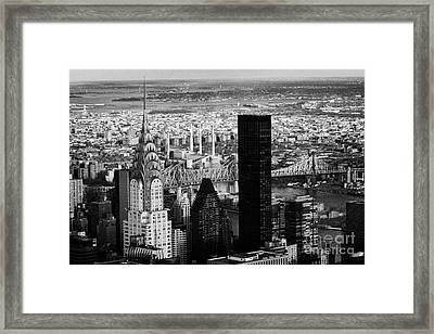 New York City Skyline Chrysler Building Trump Tower Queens Framed Print by Joe Fox