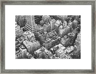 New York City - Skyline In The Snow Framed Print by Vivienne Gucwa
