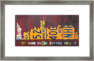 New York City Skyline License Plate Art 911 Twin Towers Statue Of Liberty Framed Print by Design Turnpike