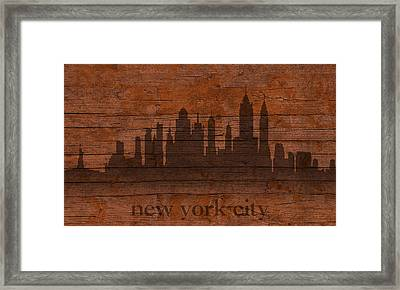 New York City Skyline Silhouette Distressed On Worn Peeling Wood Framed Print by Design Turnpike