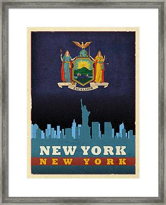 New York City Skyline State Flag Of New York Nyc Manhattan Art Poster Series 005 Framed Print by Design Turnpike