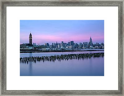 New York City Skyline Stillness Framed Print by Susan Candelario