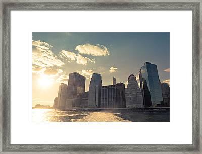 New York City Skyline - Sunset Framed Print by Vivienne Gucwa