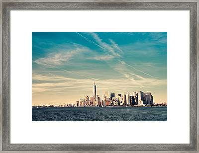 New York City - Skyline With One World Trade Center Framed Print by Vivienne Gucwa