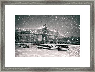 New York City - Snow At Night - Sutton Place Framed Print by Vivienne Gucwa