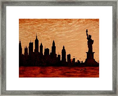 New York City Sunset Silhouette Framed Print by Georgeta  Blanaru