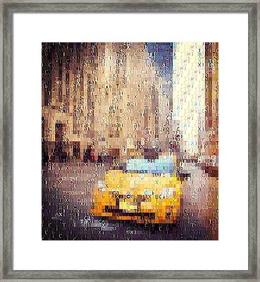 New York City Taxi Typography Framed Print by Dan Sproul