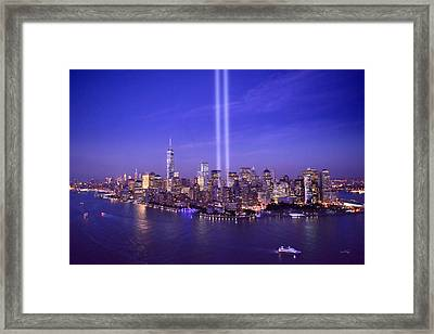 New York City Tribute In Lights World Trade Center Wtc Manhattan Nyc Framed Print by Jon Holiday