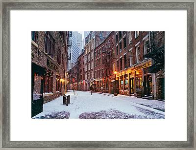 New York City - Winter - Snow On Stone Street Framed Print by Vivienne Gucwa