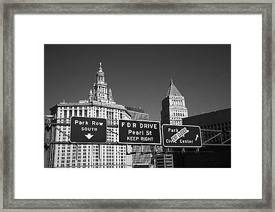 New York City With Traffic Signs Framed Print by Frank Romeo