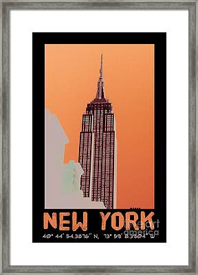 New York Coordinates Framed Print by Celestial Images