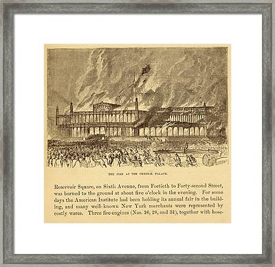 New York Crystal Palace On Fire Framed Print by Mid-manhattan Picture Collection/new York Public Library