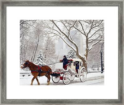New York Hansom Cab Framed Print by Rafael Macia