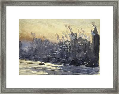 New York Harbor And Skyline At Night Circa 1921 Framed Print by Aged Pixel