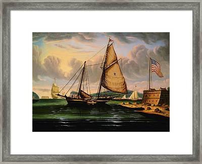 New York Harbor With Pilot Boat George Washington Framed Print by Thomas Chambers