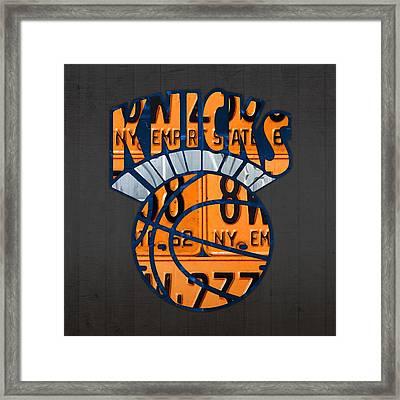 New York Knicks Basketball Team Retro Logo Vintage Recycled New York License Plate Art Framed Print by Design Turnpike