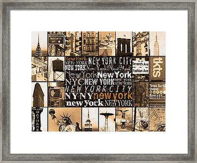 New York Life In Sepia Framed Print by Marilu Windvand