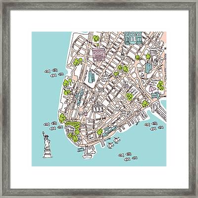 New York Manhattan Illustrated Map Framed Print by Little Smilemakers Studio
