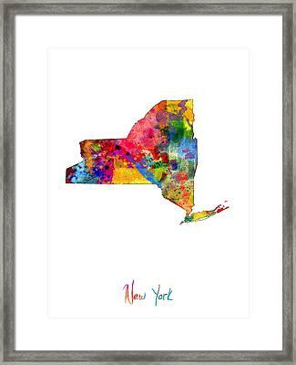 New York Map Framed Print by Michael Tompsett