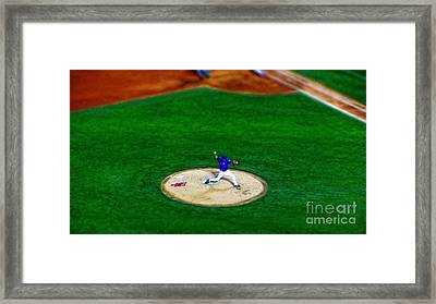 New York Mets Pitcher Abstract Framed Print by Nishanth Gopinathan