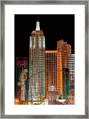New York-new York Hotel Las Vegas - Pop Art Style Framed Print by Ian Monk