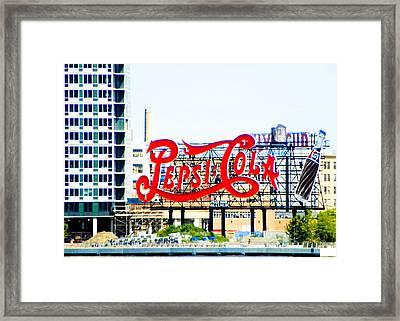New York Pepsi Sign Framed Print by Jon Woodhams