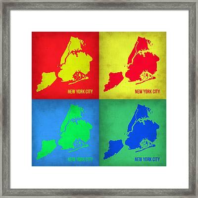 New York Pop Art  Map 1 Framed Print by Naxart Studio