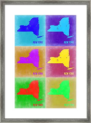 New York Pop Art  Map 3 Framed Print by Naxart Studio