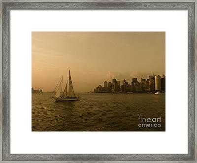New York Sailing Framed Print by Avis  Noelle