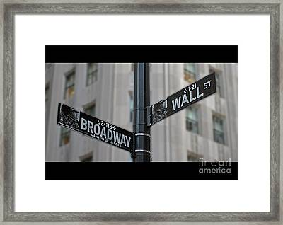 New York Sign Broadway Wall Street Framed Print by Lars Ruecker