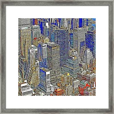 New York Skyline 20130430v5-square Framed Print by Wingsdomain Art and Photography