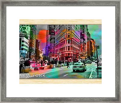New York Skyline And Taxi Framed Print by Marvin Blaine