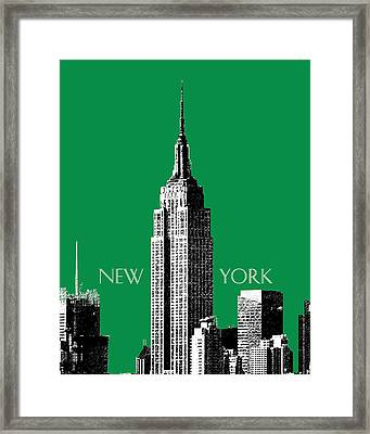 New York Skyline Empire State Building - Forest Green Framed Print by DB Artist