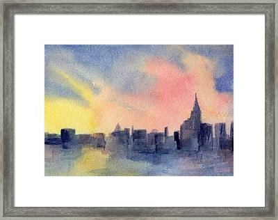 New York Skyline Empire State Building Pink And Yellow Watercolor Painting Of Nyc Framed Print by Beverly Brown Prints