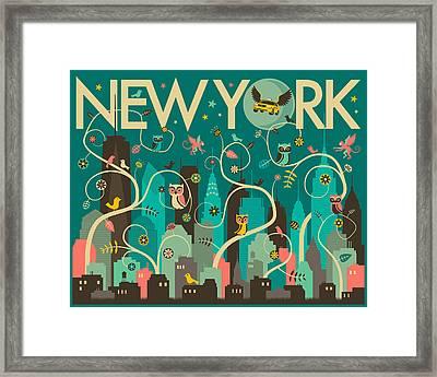 New York Skyline Framed Print by Jazzberry Blue