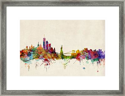 New York Skyline Framed Print by Michael Tompsett